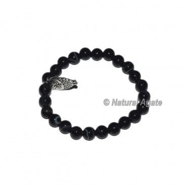 Black Onyx Bracelets with Owl