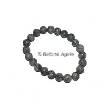 Black Fossil Jasper Gemstone Bracelets