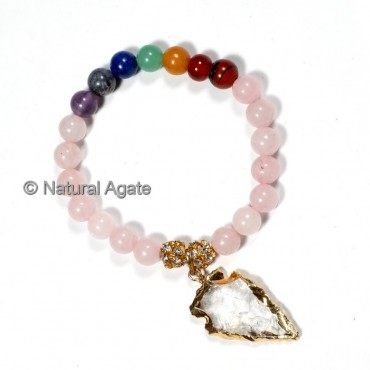 Rose Quartz and Chakra Stone with Arrowhead Bracelets