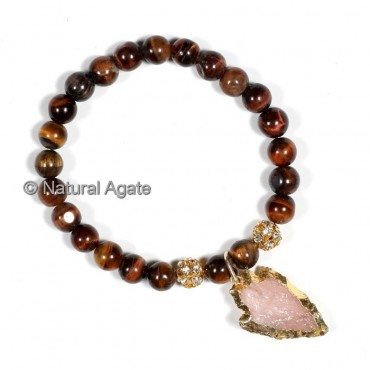 Red Tiger Eye With Arrowheads Bracelets