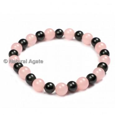 Rose Quartz And Black Agate Bracelets