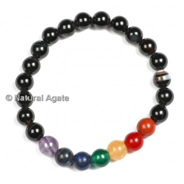 Black Tourmaline with Seven Chakra Bracelets