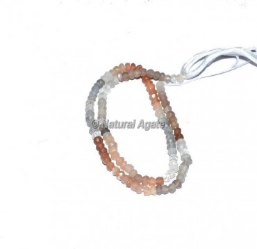 Multi Moon Stone Faceted Rondelle Beads