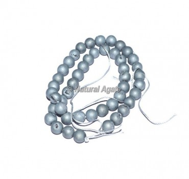 Silver Druzy Agate Beads
