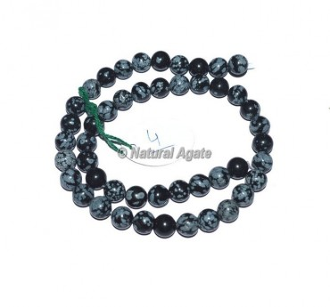 Snow flake Obsidian Agate Beads