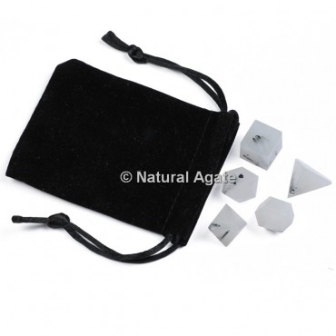 Black Rutile Sacred Geometry Set With Gift Pouch