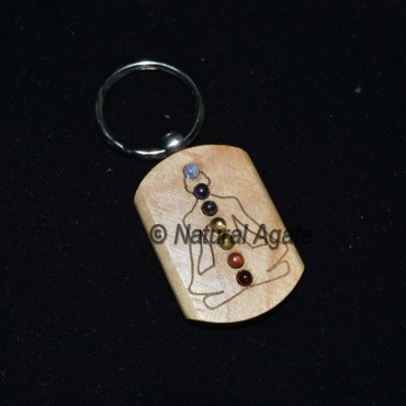 Budhdha Engraved Chakra Wood Keychain