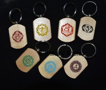Color Printed Chakra Wood Keychain