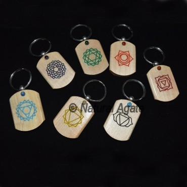Printed Chakra Symbol with Small Cab Wood Keychain