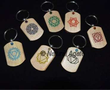 Prited Chakra With Small Cab Wood Keychain