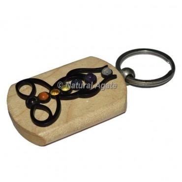 Black Buddha Seven Chakra Wood Keychain