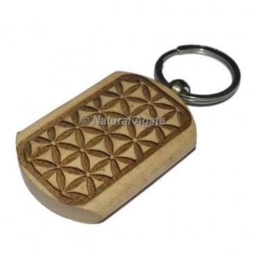 Flower Of Life Wood Keychain