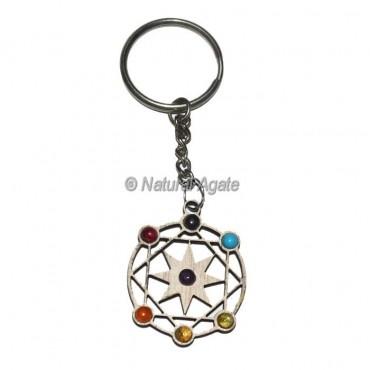 Seven Chakra Pentagram Wood Keychain