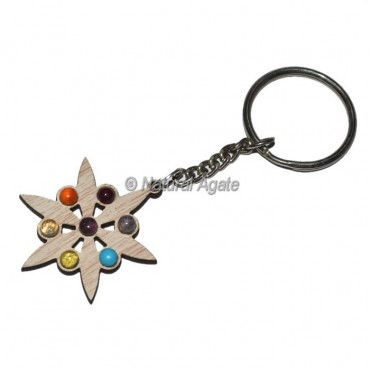 Star Seven Chakra Wood Keychain