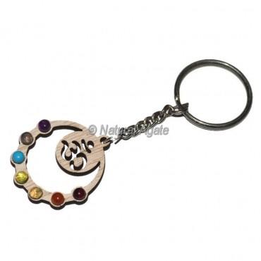 Om Seven Chakra Wood Keychain