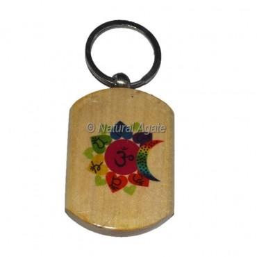 Colorful Om Seven Chakra wood Keychain