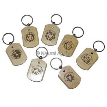 Engraved Seven Chakra Wooden Keychain Set