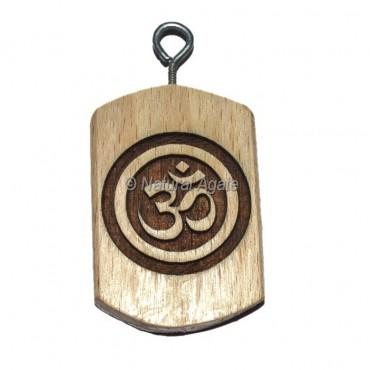 Om Engraved Wooden Keychain