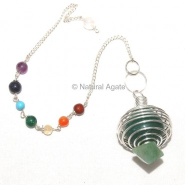 Green Aventurine Pyramid Pendulums in Cage