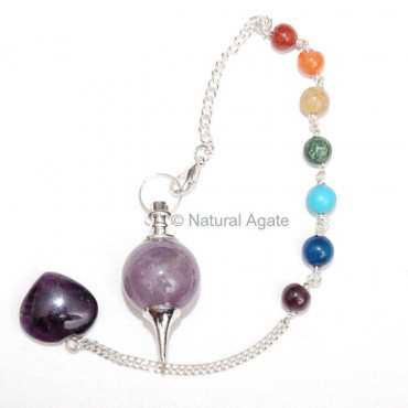 Amethys Ball Pendulums with chakra chain