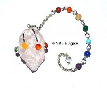 Rose Quartz Hammered Chakra Pendulums