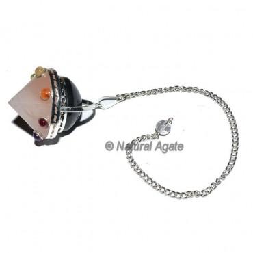 7 Chakra Rose Quartz Cone Pendulums