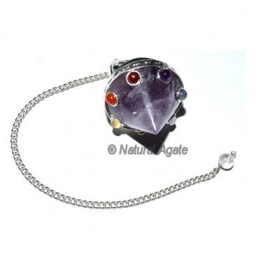 Amethyst 7 Chakra Cone Pendulum