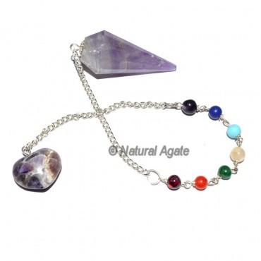 Amethyst Chakra Pendulum With Chakra Chain