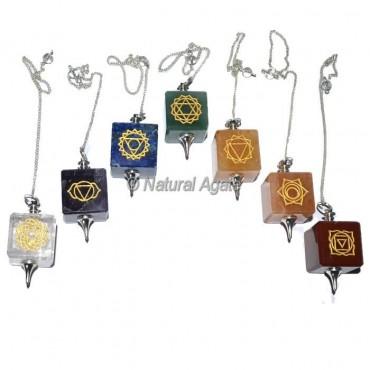 Engraved Chakra Cube Pendulums Set