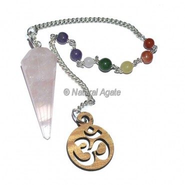 Rose Quartz 12 Faceted Chakra Pendulums