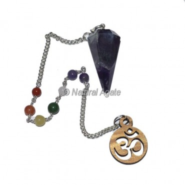 Amethyst 6 faceted Chakra Pendulums