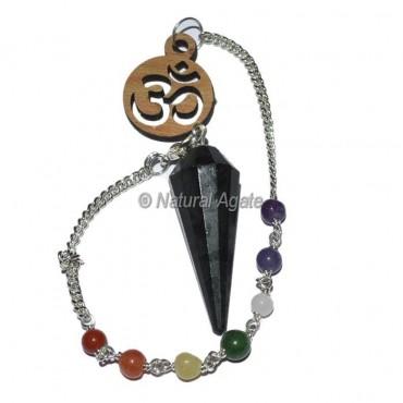 Black Tourmaline 12 faceted chakra pendulums