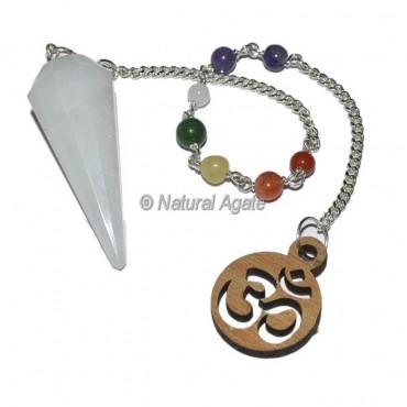 Selenite 12 faceted chakra pendulums