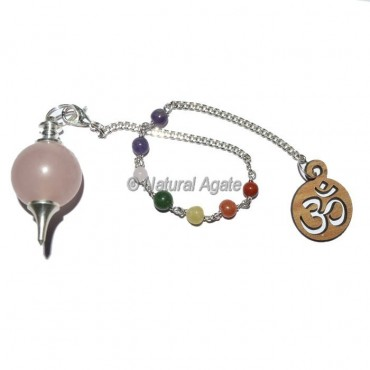 Rose Quartz Ball Pendulums with Chakra Chain