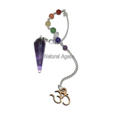 Amethyst 12 Faceted Pendulums with Chakra Om Chain