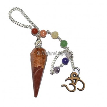 Red Jasper 12 Faceted Pendulums with Chakra Om Chain