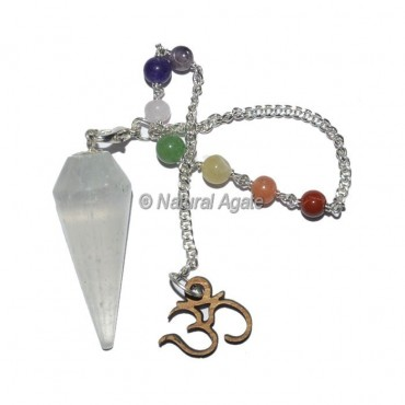 Selenite 12 faceted Pendulums with Chakra Om Chain