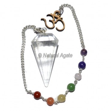 Clear Quartz 12 Faceted Pendulums with Chakra Om Chain