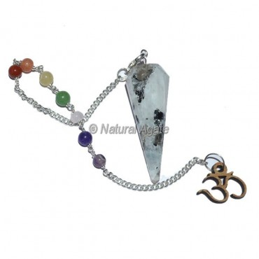 Rainbow Moonstone 12 Faceted Pendulums with Chakra Om Chain