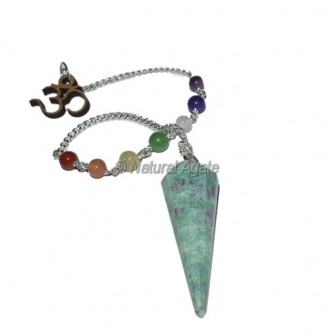 Ruby Zeosite 12 Faceted Pendulums with Chakra Om Chain
