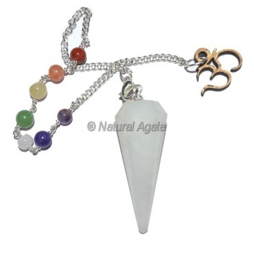 White Quartz 12 Faceted Pendulums with Chakra Om Chain