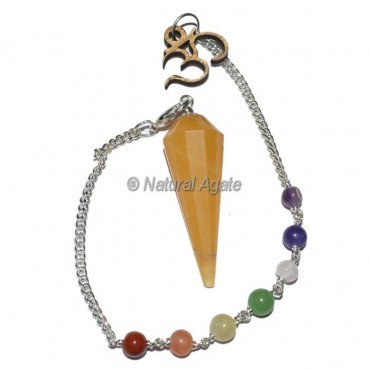 Yellow Aventurine 12 Faceted Pendulums with Chakra Om Chain