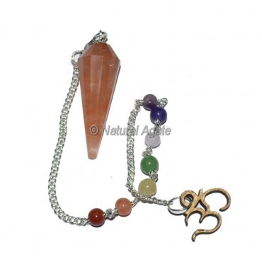 Peach Aventurine 12 faceted Pendulums with Chakra Om Chain