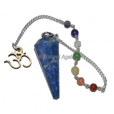Lapis Lazuli 12 Faceted Pendulums with Chakra Om Chain