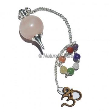 Rose Quartz Ball Pendulums with Chakra Om Chain