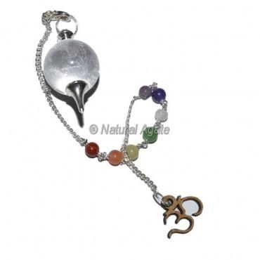 Clear Quartz Ball Pendulums with Chakra Om Chain