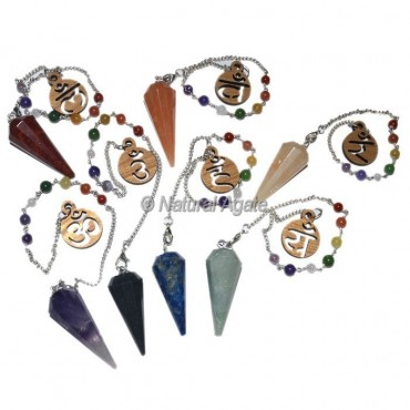 Mix Gemstone 12 Faceted Chakra Pendulums with Om