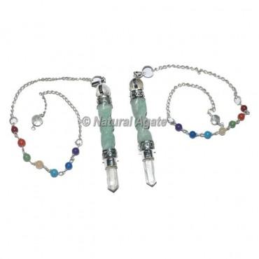 Green Aventurine Spiral Chakra Pendulum