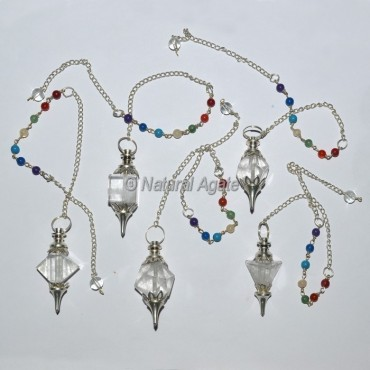Crystal Quartz Geometry Chakra Pendulums Set