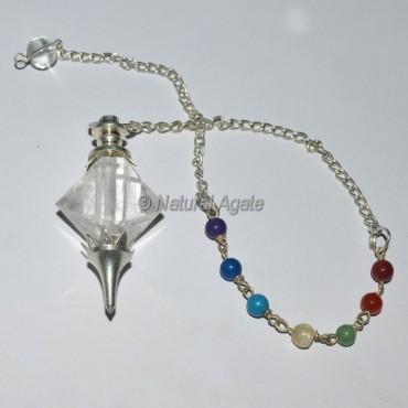 Icosahedron Crystal Quartz Chakra Pendulum